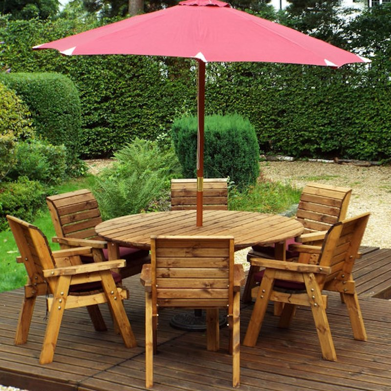 Six Seater Circular Wooden Garden Dining Set with Burgundy Cushions/