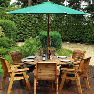 Six Seater Circular Wooden Garden Dining Set with Green Cushions