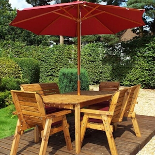 Six Seater Wooden Garden Dining Set with Benches, Chairs & Burgundy Cushions