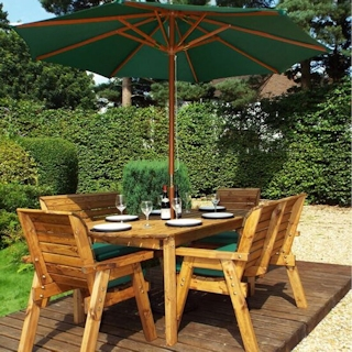 Six Seater Wooden Garden Dining Set with Benches, Chairs & Green Cushions