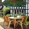 Six Seater Wooden Garden Dining Set with Benches, Chairs & Green Cushions/