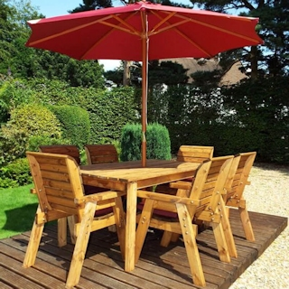 Six Seater Rectangular Wooden Garden Table Set with Burgundy Cushions