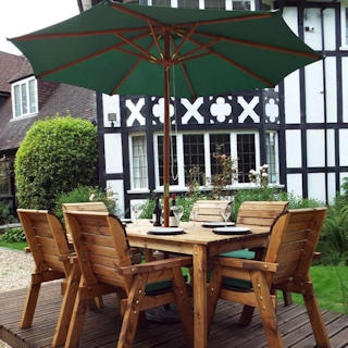 Six Seater Rectangular Wooden Garden Table Set with Green Cushions