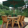 Six Seater Rectangular Wooden Garden Table Set with Green Cushions/