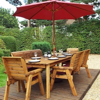 Eight Seater Rectangular Wooden Garden Table Set with Benches, Chairs & Burgundy Cushions
