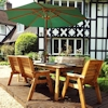 Eight Seater Rectangular Wooden Garden Table Set with Benches, Chairs & Green Cushions/