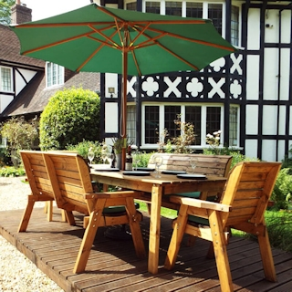 Eight Seater Rectangular Wooden Garden Table Set with Benches, Chairs & Green Cushions