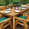 Eight Seater Rectangular Wooden Garden Dining Set with Green Cushions/