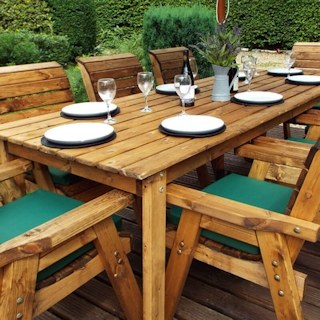 Eight Seater Rectangular Wooden Garden Dining Set with Green Cushions