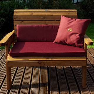 Traditional Two Seater Wooden Garden Bench with Burgundy Cushions