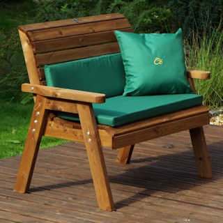 Traditional Two Seater Wooden Garden Bench with Green Cushions