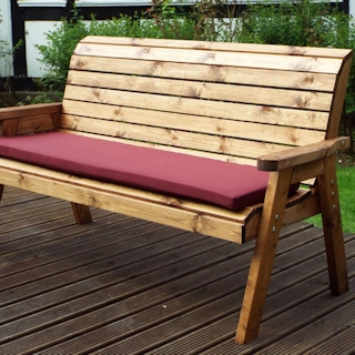 Three Seater Winchester Wooden Garden Bench with Burgundy Cushions