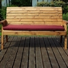 Three Seater Winchester Wooden Garden Bench with Burgundy Cushions/