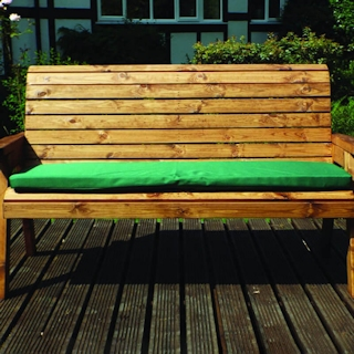 Three Seater Winchester Wooden Garden Bench with Green Cushions