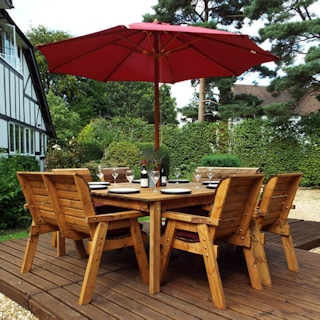 Eight Seater Square Wooden Outdoor Table Set with Benches, Chairs & Burgundy Cushions