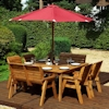 Eight Seater Square Wooden Outdoor Table Set with Benches, Chairs & Burgundy Cushions/