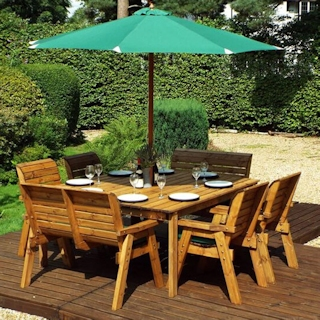 Eight Seater Square Wooden Outdoor Table Set with Benches, Chairs & Green Cushions