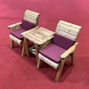 Deluxe Companion Wooden Garden Chair Set with Burgundy Cushions/