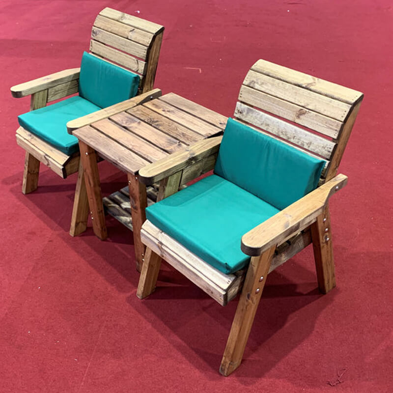 Deluxe Companion Wooden Garden Chair Set with Green Cushions/