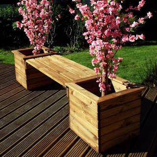 Wooden Garden Planter Bench