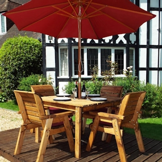 Four Seater Square Wooden Garden Table Set with Burgundy Cushions