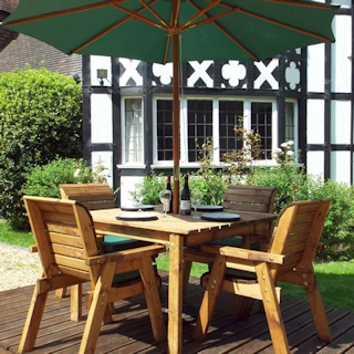 Four Seater Square Wooden Garden Table Set with Green Cushions