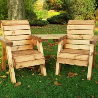 Kids Twin Wooden Garden Chair Set - Angled