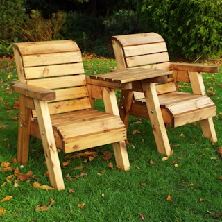 Kids Twin Wooden Garden Chair Set - Straight