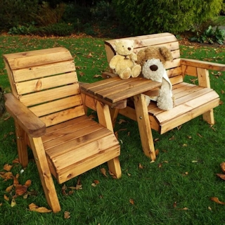 Kids 3 Seater Wooden Garden Companion Set with Straight Tray