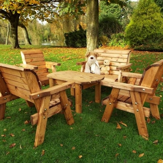 Kids Wooden Garden Table & Chairs Set
