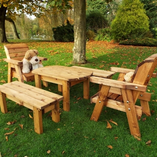 Kids Wooden Garden Table Set with Chairs & Benches