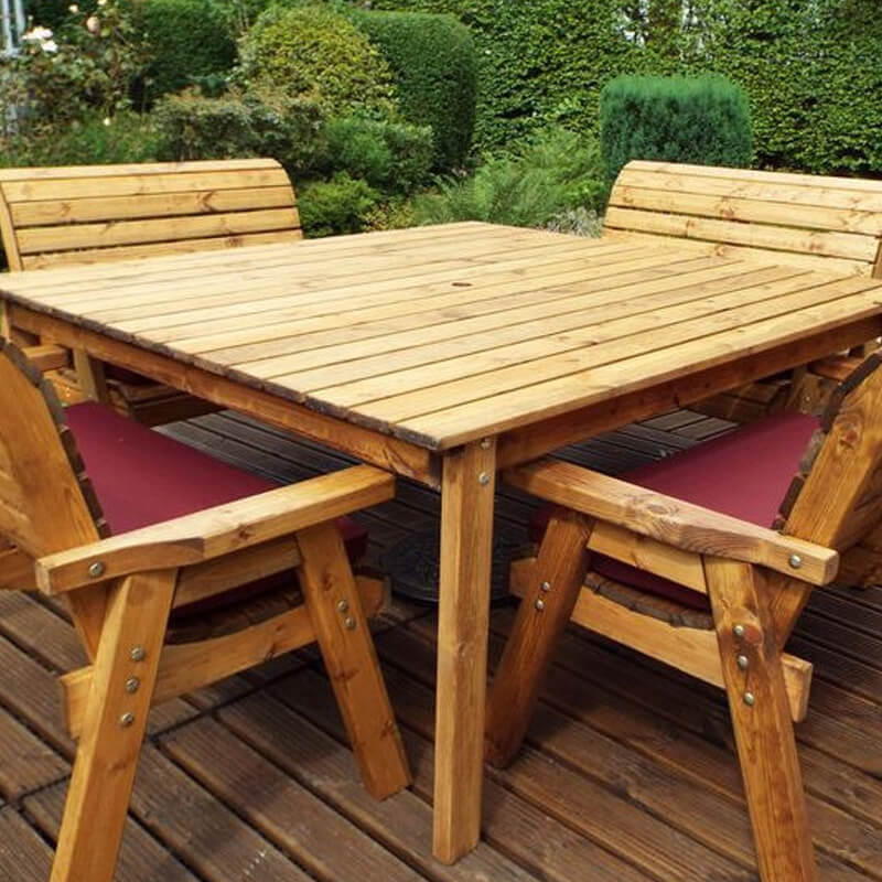 Eight Seater Square Wooden Garden Table Set with Bench ...