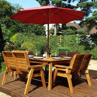 Eight Seater Square Wooden Garden Table Set with Bench Seats & Burgundy Cushions