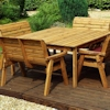 Eight Seater Square Wooden Garden Table Set with Bench Seats & Burgundy Cushions/
