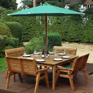 Eight Seater Square Wooden Garden Table Set with Bench Seats & Green Cushions
