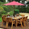 Eight Seater Square Wooden Garden Table Set with Burgundy Cushions/