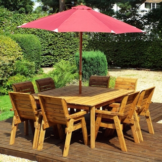 Eight Seater Square Wooden Garden Table Set with Burgundy Cushions