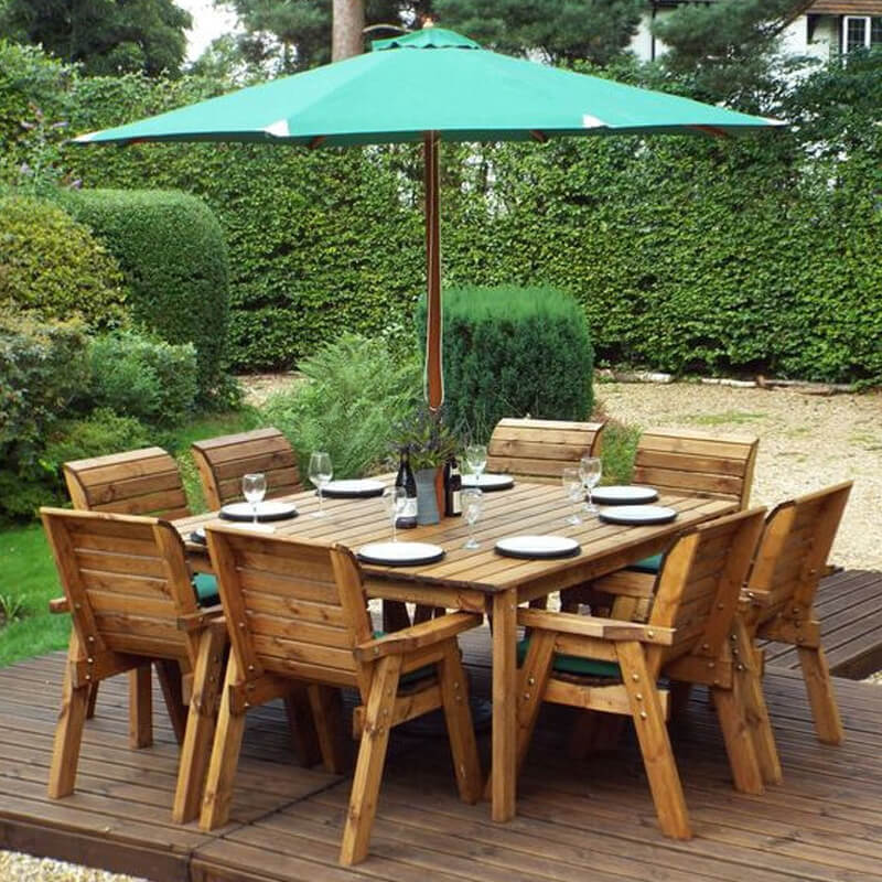 Eight Seater Square Wooden Garden Table Set with Green Cushions/