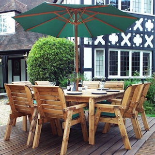 Eight Seater Square Wooden Garden Table Set with Green Cushions