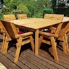Eight Seater Square Wooden Garden Table Set with Chairs, Bench Seat & Burgundy Cushions/