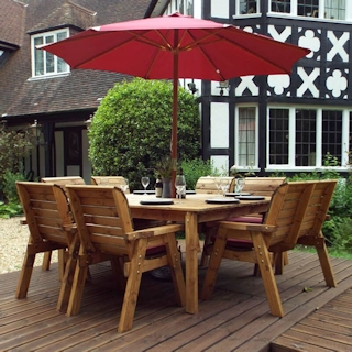 Eight Seater Square Wooden Garden Table Set with Chairs, Bench Seat & Burgundy Cushions
