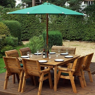 Eight Seater Square Wooden Garden Table Set with Chairs, Bench Seat & Green Cushions