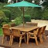 Eight Seater Square Wooden Garden Table Set with Chairs, Bench Seat & Green Cushions/