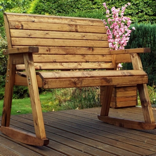 Wooden Garden Bench Rocker