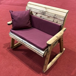 Wooden Garden Bench Rocker with Burgundy Cushions