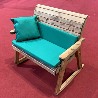 Wooden Garden Bench Rocker with Green Cushions