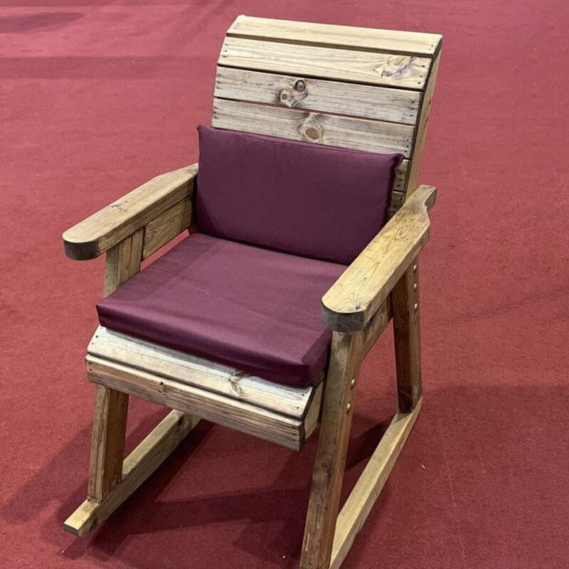 Wooden Garden Rocking Chair with Burgundy Cushions ...