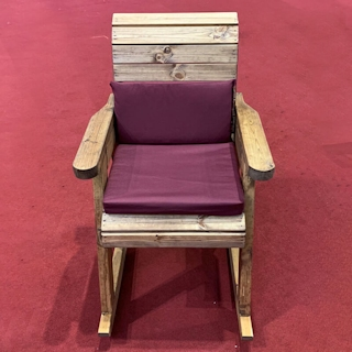 Wooden Garden Rocking Chair with Burgundy Cushions
