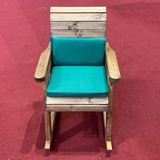 Wooden Garden Rocking Chair with Green Cushions