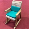 Wooden Garden Rocking Chair with Green Cushions/